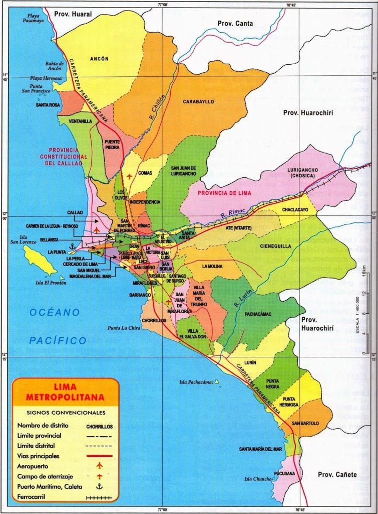 Mapa de Lima  Viajar a Peru